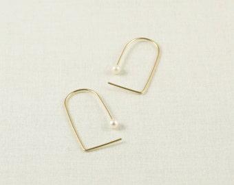 Minimalist Earrings - Minimal Earrings - Gold Hoop Earrings - Pearl Hoop Earrings - Pearl Earrings - Pearl Earrings Gold  Hoop Earrings Gold