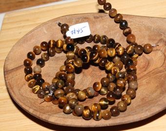 "16"" Strand of 4mm Smooth Round Tiger Eye Beads #43"