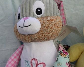 "Pink Harlequin Bunny - ""Clovis Branpton III"" - Personalized Design(s) Optional"