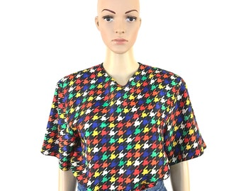 Vintage Multi-Colored Checkers Short Sleeve Top
