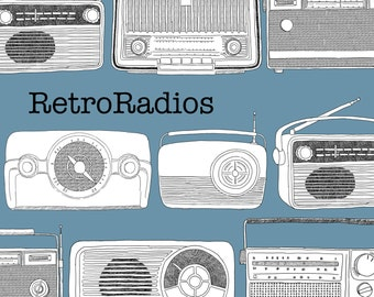 Retro Vintage Radios Digital Drawings
