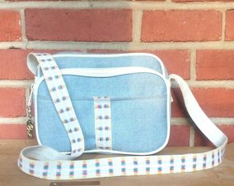 1980's preppy casual purse blue rainbow pattern strap J designs