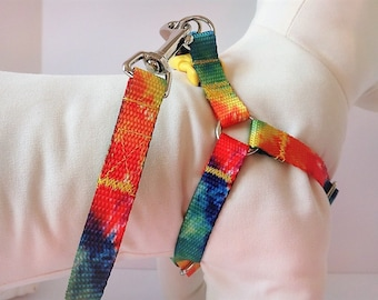 Step-in Dog Harness and (optional) Leash - Tie Dye Dog Harness - Boy Dog Harness or Girl Dog Haress- Dog Collar Alternative