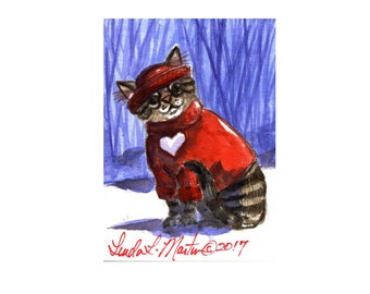 Tabby Cat in Sweater for Valentines Day llmartin Original ACEO  Watercolor Pawvarotti 3