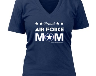 Proud Air Force Mom Ladies V-Neck Shirt