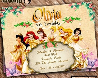 SALE 50% OFF Disney Princess Birthday Invitation Printable - Personalized - Disney Princess Theme - Invitations for Girls