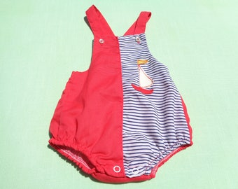 vintage boys nautical sunsuit size 3 months see measurements no tags red also blue and white stripe has plastic covering inside