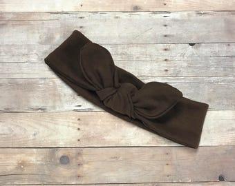 Brown bow Headband - headband- bow headband for infants, toddlers, and adults  - top knot headband