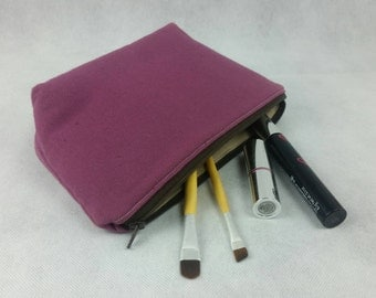 Zipper pouch, Small purple cosmetic with taupe lining, SALE, ready to ship