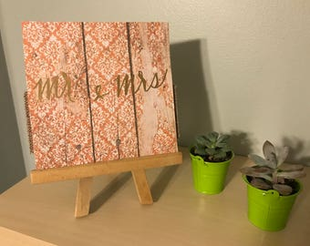 Mr. and Mrs. Wedding Card on Rustic Wood Paper
