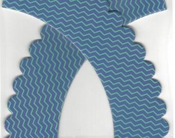 CUPCAKE WRAPPERS (12 pc)  --  Blue & Aqua/Teal Chevron Stripes