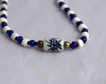 Blue and White Choker Necklace