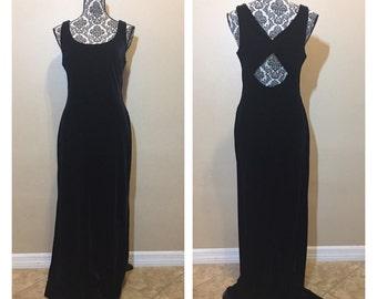 Vinatge Black Velvet Dress | Vintage Prom Dress