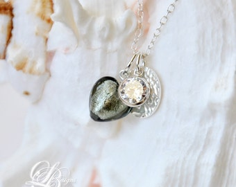 Murano Glass Heart Charm Necklace Sterling Silver