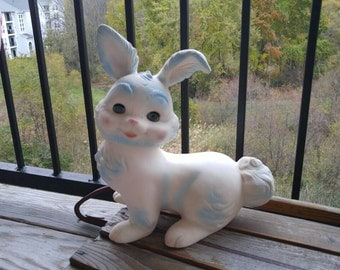 Edward Mobley Arrow Rubber White Rabbit with Sleepy Eyes and Movable Head