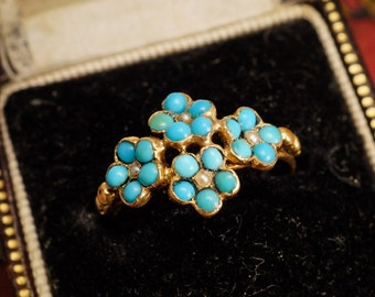 Antique French Turquoise & Pearl Four Flower Ring in 18ct Gold, c1890