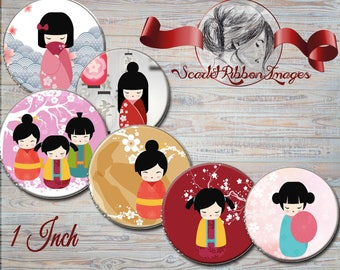 Asian Doll  Images 1 inch round Bottle cap size - circles 600dpi Collage Sheet, glass pendants, Label, Cupcake topper, Tag