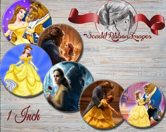 Beauty and the Beast- Belle-  15 - 1 in circle digital images - 600dpi, Collage Sheet, Gift Tags, BottleCaps