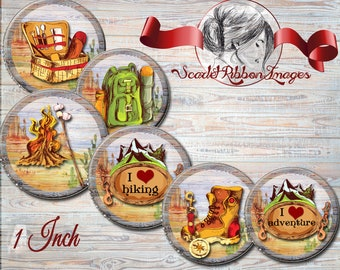 CAMPING, HIKING, TRAVEL 1 inch digital  Image collage sheets bottle cap images 600dpi Adventure, travel, backpacking, hiking, camping