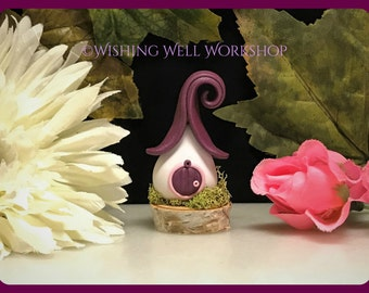 Polymer Clay Burgundy Fairy House