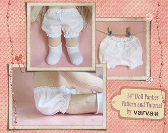 PDF tutorial and sewing pattern of panties for a Waldorf doll 13-14 inch (33-36 cm) tall