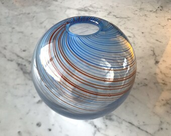 Vintage Modern Handblown Art Glass Ball Sphere Vase with Swirls Blue Clear Red DANSK International Designs