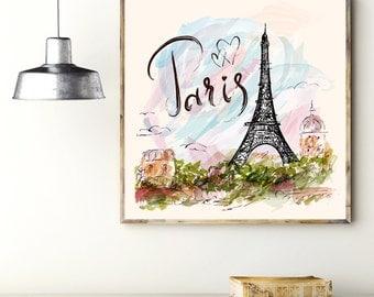 Increíble impresión del arte: París. Cuadros de arte. Cartel con la Torre Eiffel