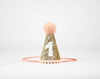 First Birthday Hat | 1st Birthday Girl Outfit | First Birthday Outfit Girl | Birthday Party Hats | Gold + Blush