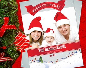 Family Christmas Card Set, 5 x 7 Flat Card with Envelope, Holiday Card, Mailing Service, Personalized Christmas Cards, Merry Christmas
