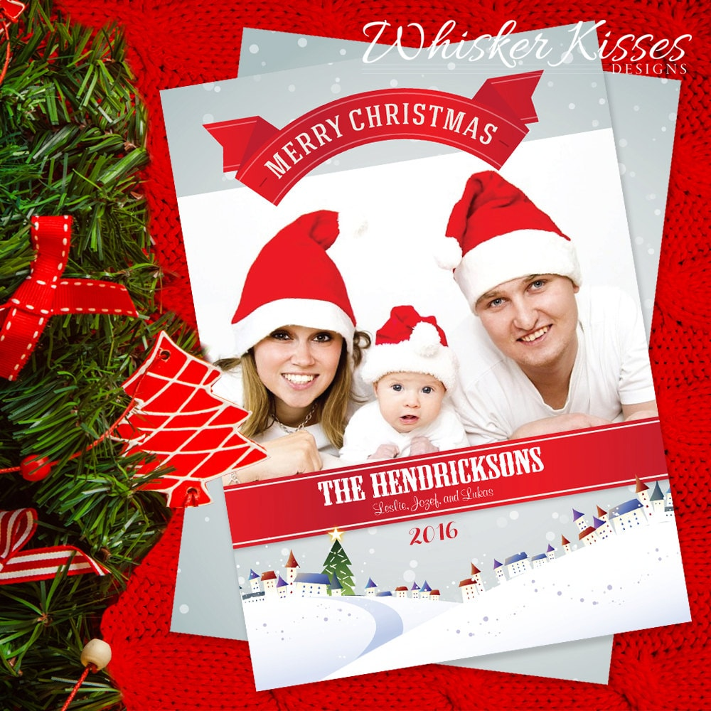 Family Christmas Card Set 5 X 7 Flat Card With Envelope Holiday