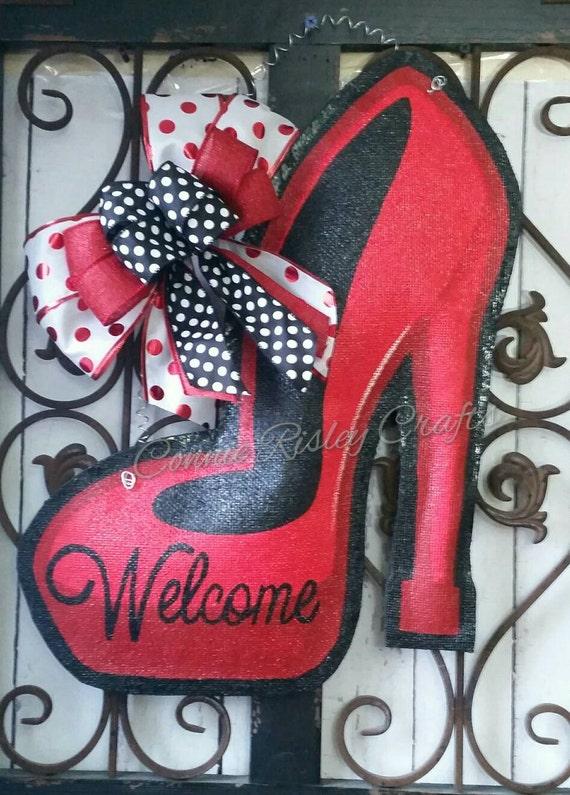 High Heel Shoe Burlap Door Hanger