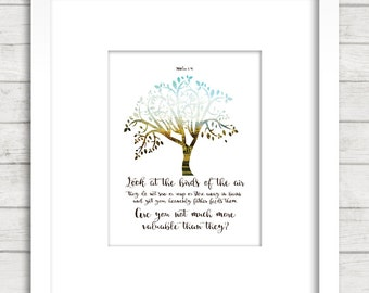 Matthew 6:26, Scripture Poster. Bible Verse. Christian, Gift, Bible wall decoration, Bible art,Look at the birds