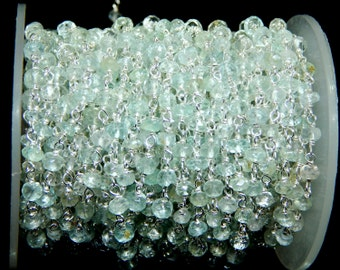 925 Sterling Silver Rosary Chain Aquamarine Faceted Beads Wire Wrapped 4x3.5mm 100% Natural Top Quality Wholesale Price.