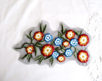 Blue Petit Flower Patch,Embroidered Flower Applique,Musterd Flower Patch,Red Flower Bunch Embroidered Bunch Appique ,