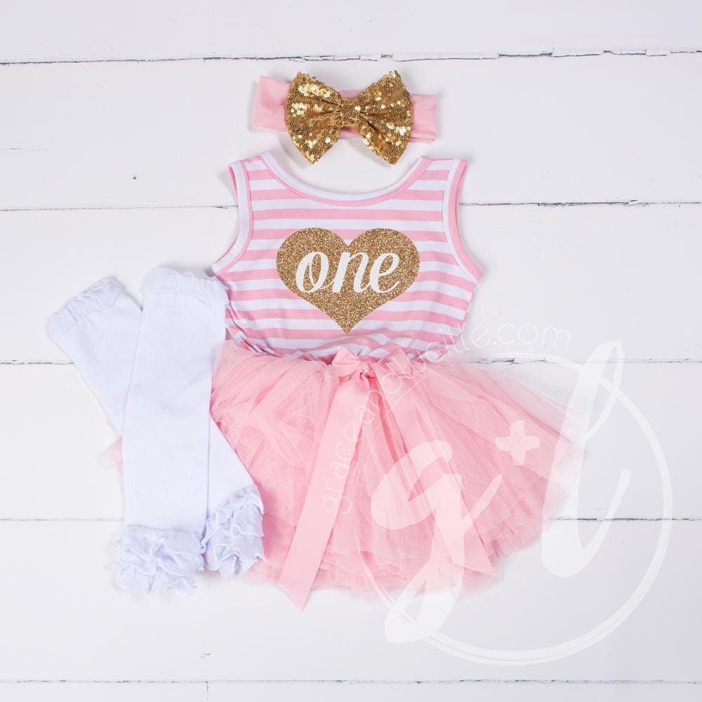 0ee35c98bbbb First Birthday outfit girls, First Birthday Dress with Heart, Love Birthday,  Pink and