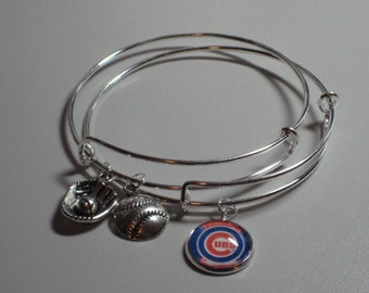 Chicago Cubs Bracelets (Set of 2), Silver Plated, Cubs Image Charm, Silver Baseball Charm, Silver Glove & Ball Charm