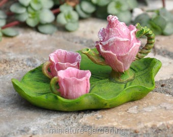 Flower Tea Set for Miniature Garden, Fairy Garden