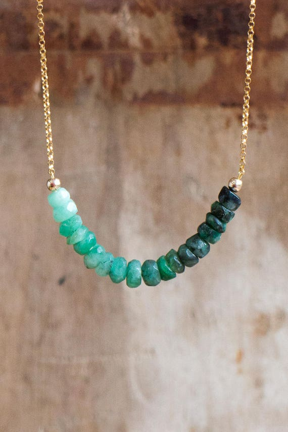 Raw Ombre Emerald Necklace - May Birthstone