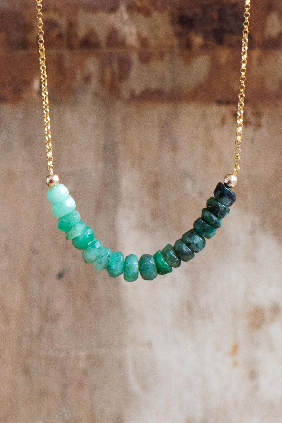 Raw Emerald Necklace, May Birthstone, Emerald Crystal Row Necklace, Silver Gold Emerald Jewellery, Emerald Ombre Green Layering Necklace