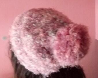 Beanie hat with pompon.Handmade artwork