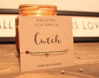 Cwtch bracelet - welsh language , wales , star bracelet , sending a hug , cuddle - wish bracelet