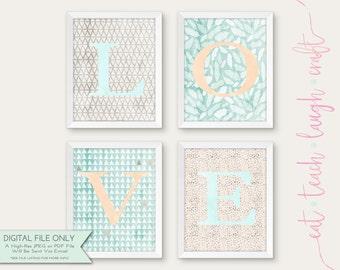 Set of 4 LOVE Prints - Baby Room Decor - Nursery Art - DIY Printable Wall Art - Watercolor Mint & Orange {Instant Digital Download - 8x10}