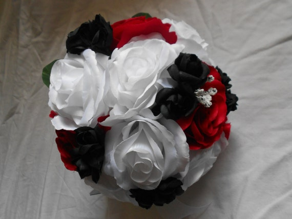 Bride maids bouquet set of 4 with 4 grooms boutonniers includes white red and black