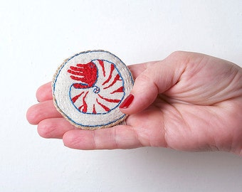 Nautilus brooch, Shell embroidery brooch, Marine brooch, Nautical brooch, Hand embroidery brooch