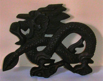 Antique Chinese Hand Carved Wooden Left Facing Dragon wall Plaque