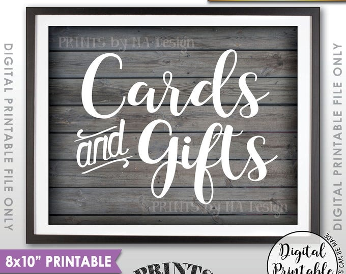 """Cards and Gifts Sign, Cards & Gifts Table Sign, Wedding, Birthday, Shower, Graduation, 8x10"""" Rustic Wood Style Printable Instant Download"""