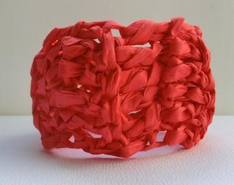 Red crochet bangle | crochet paper bangle | crochet jewelry | handmade paper bracelet | chunky bracelet | paper yarn | boho style |