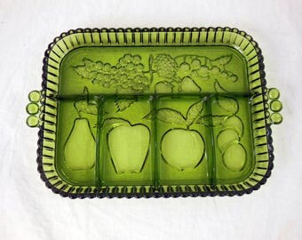 Green Glass Divided Dish - Indiana Glass - Fruit and Vegetable Platter, Condiment Tray