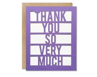 Thank You So Very Much card // cut paper card, a2 fold over card, blank inside, thanks card, paper cut card, handmade