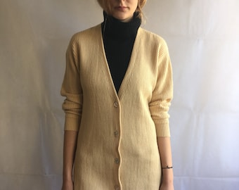 Vintage Pale Yellow Long Ribbed Button Up Sweater